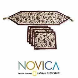 Handmade Set of 4 Natural Fiber 'Bali Flora' Table Runner Placemats (Indonesia) - Thumbnail 2