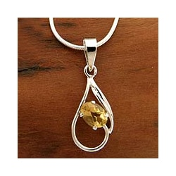 Handcrafted Sterling Silver 'Sunny Dawn' Citrine Necklace (India)
