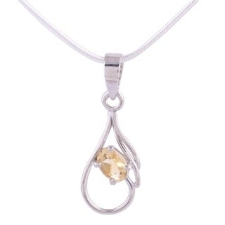 Handmade Sterling Silver 'Sunny Dawn' Citrine Necklace (India)
