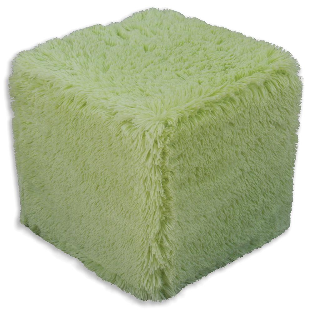 Shaggy Sage Cube Foam Ottoman