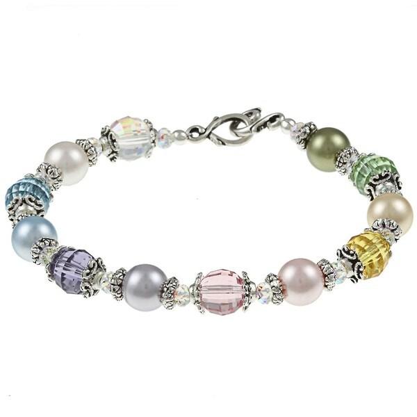 MSDjCASANOVA Tierracast Pewter Pastel Rainbow Crystal Bracelet
