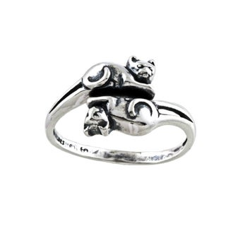 Silvermoon Sterling Silver Double Cat Adjustable Ring (2 options available)