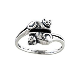 Silvermoon Sterling Silver Double Cat Adjustable Ring