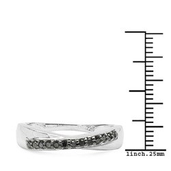 Malaika Sterling Silver 1/10ct TDW Black Diamond Ring - Thumbnail 2