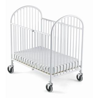 Foundations Pinnacle White Steel Folding Crib with Mattress