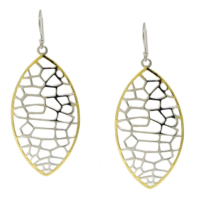Silver and Gold Two-Tone Filigree Leaf Earrings
