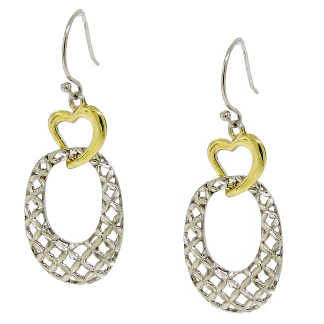 Silver and Gold Two-tone Woven Dangle Earrings