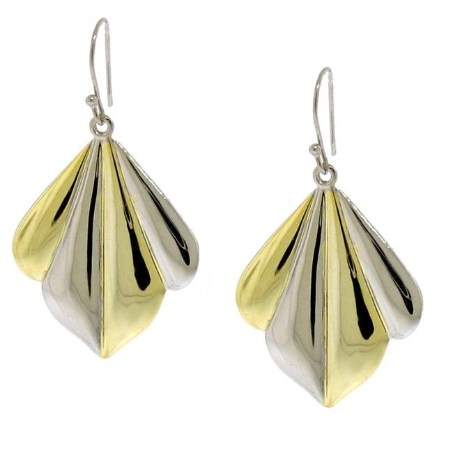 Silver and Gold Two-tone Fan Dangle Earrings