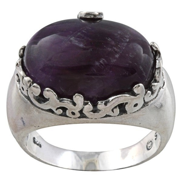 Silvermoon Sterling Silver Amethyst Swirl Trim Ring