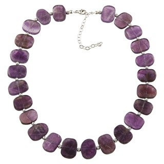 Silvermoon Sterling Silver Flat Amethyst Necklace