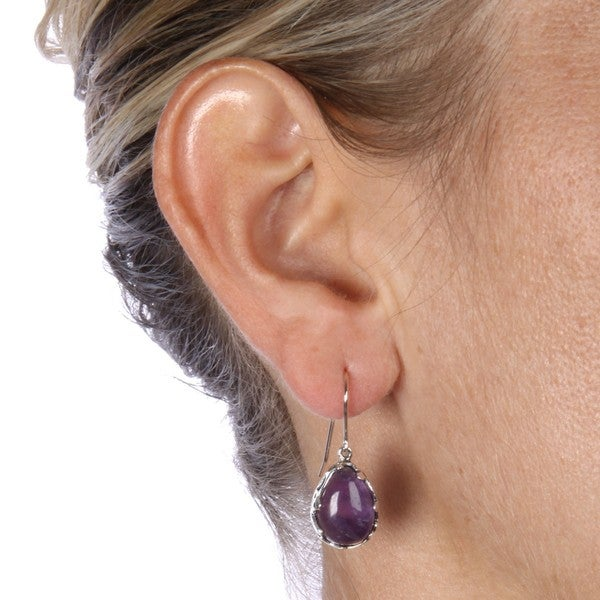 FB Jewels 14K Yellow Gold Set Amethyst Pair Polished Heart Earrings
