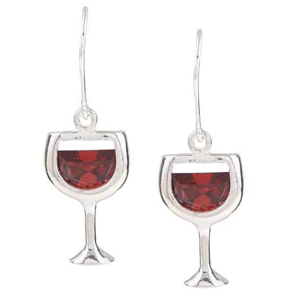 Silvermoon Sterling Silver Red Cubic Zirconia Wine Glass Earrings