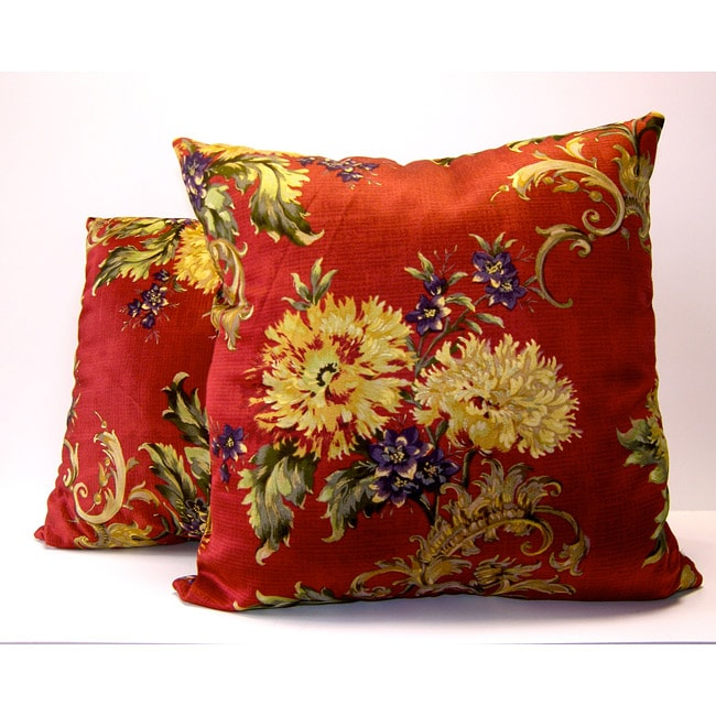 Forte Red Floral Decorative Pillows (Set of 2)
