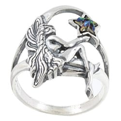 Silvermoon Sterling Silver Fairy and Crystal Star Ring