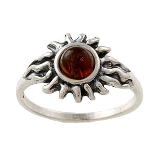 Silvermoon Sterling Silver Amber Sun Ring (More options available)