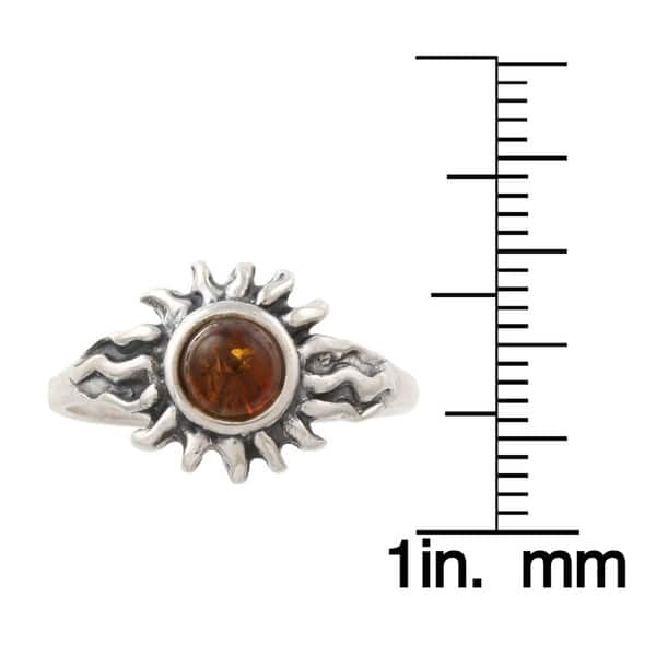 Shop Silvermoon Sterling Silver Amber Sun Ring - On Sale