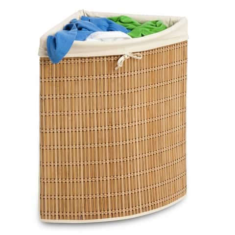 Honey Can Do HMP-01618 HMP-01618 Bamboo Wicker Corner Hamper