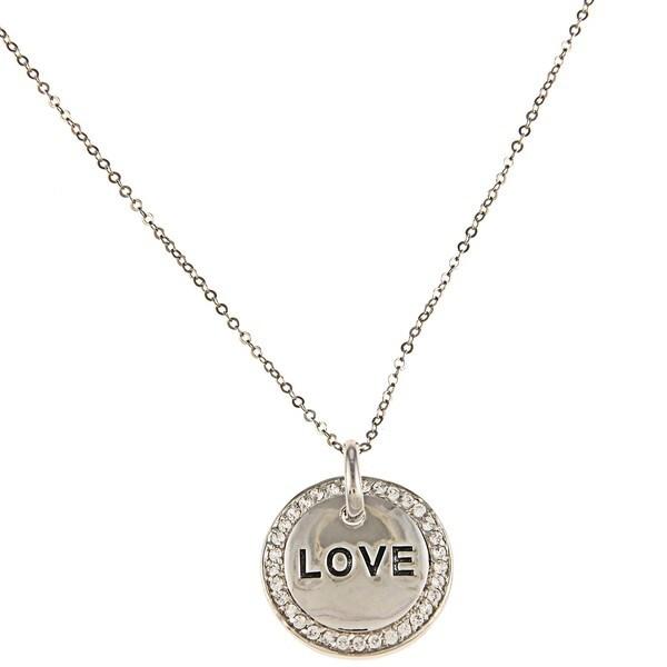 La Preciosa Silvertone Cubic Zirconia 'Love' Circle Necklace