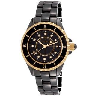 Black Akribos XXIV Ladies Ceramic Quartz Date Bracelet Fashion Watch