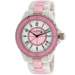 Akribos XXIV Ladies Ceramic Quartz Date Pink Bracelet Fashion Watch