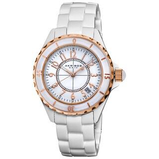 White Akribos XXIV Ladies Ceramic Quartz Date Bracelet Fashion Watch