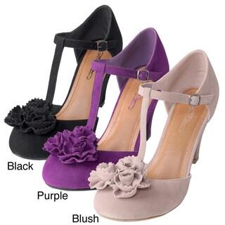 Journee Collection Women's 'ARIEL-47' Flower Accent T-strap Heels