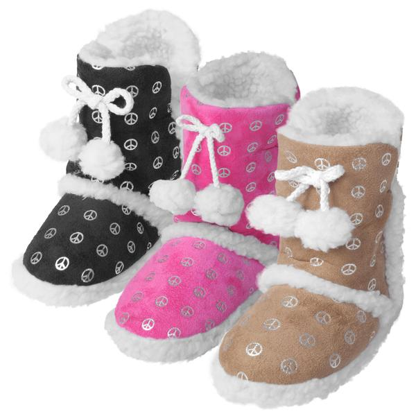 Journee Kids Girl's 'Hipster' Peace Pattern Toggle Slipper Boots
