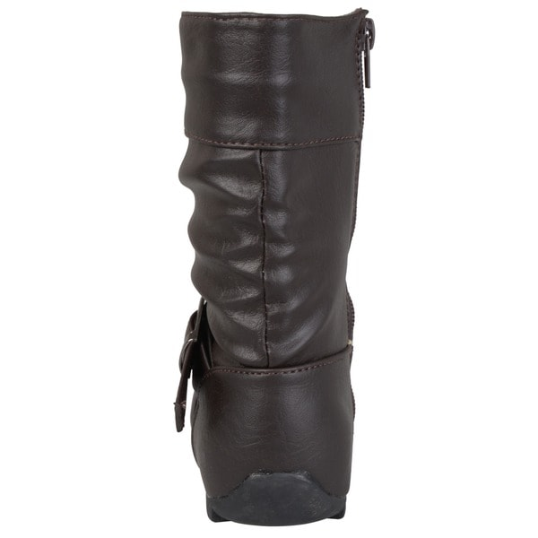 Journee Kids Girl/'s Slouchy Accent Mid-calf Boots