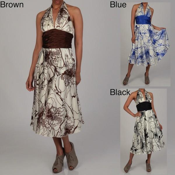 Issue New York Women's Printed Halter Neck Evening Dress