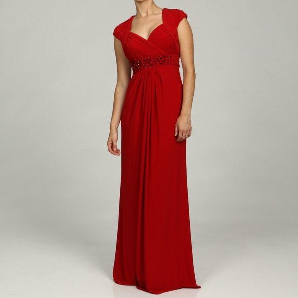 Adrianna Papell Evening Women's Beaded Empire Long Jersey Dress