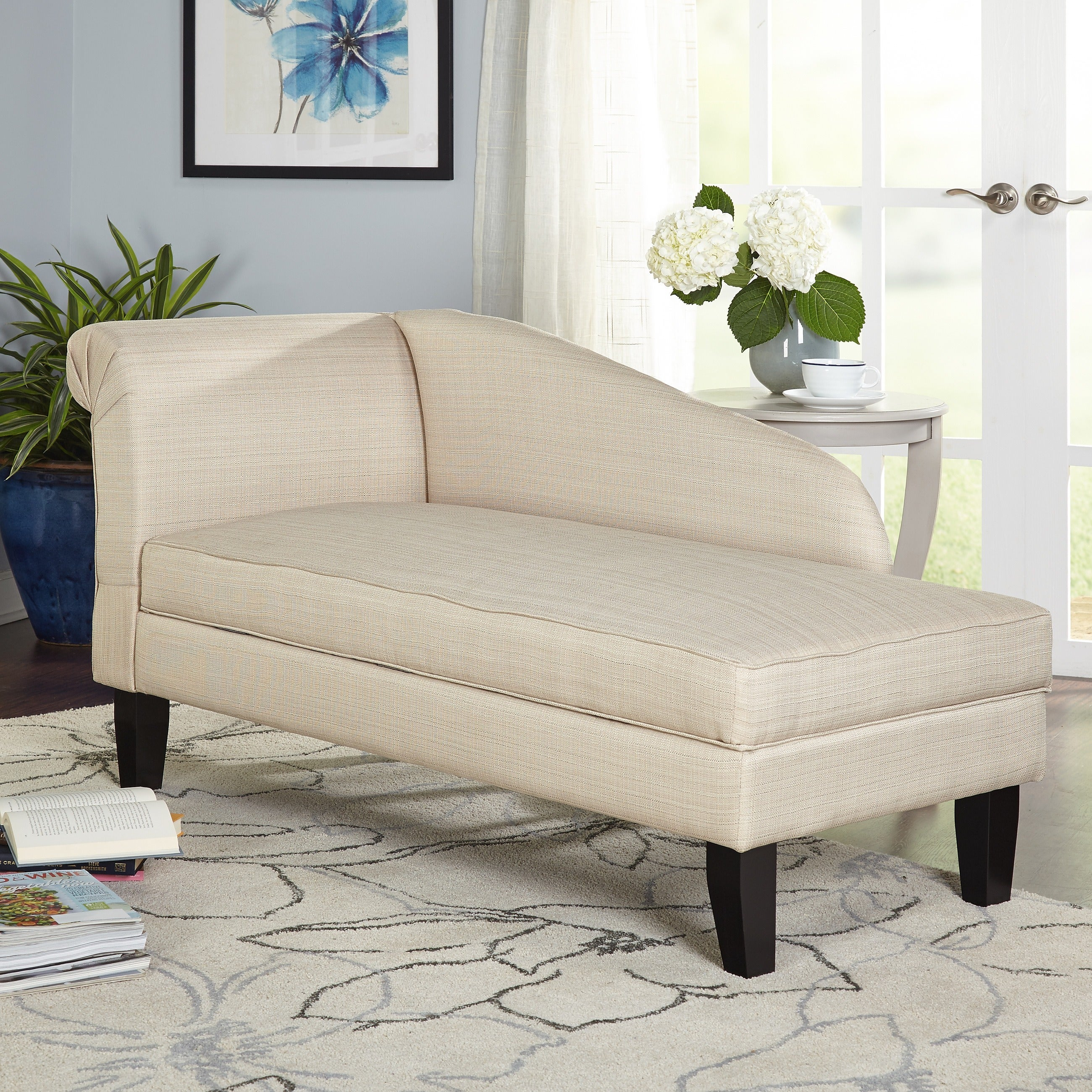 Simple Living Chaise Lounge With Storage Compartment (2 Options Available)