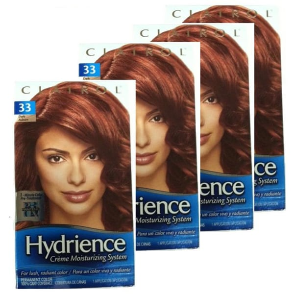 Clairol Hydrience 33 Russet Glow Dark Auburn Hair Color Pack Of 4