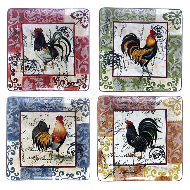 Certified International Lille Rooster 10.5-in Square Dinner Plates (Set of 4) & Certified International Lille Rooster 10.5-in Square Dinner Plates ...