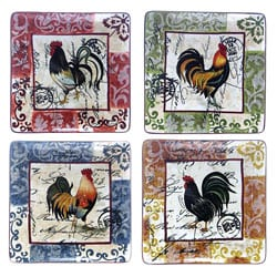 Certified International Lille Rooster 10.5-in Square Dinner Plates (Set of 4)