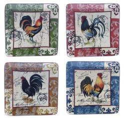 Certified International Lille Rooster Assorted 8.5-inch Square Salad/ Dessert Plates (Set of 4)