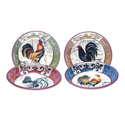 Certified International Lille Rooster 9-in Pasta/ Soup Bowls (Set of 4)