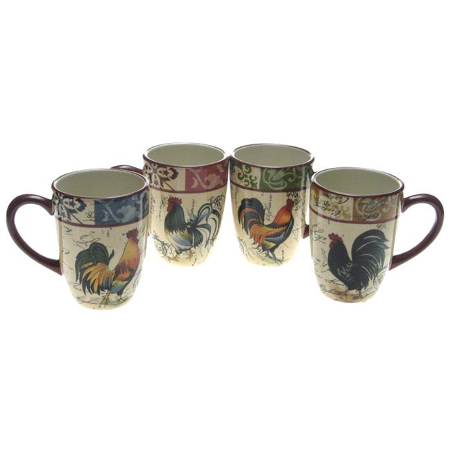 Certified International Lille Rooster 20-ounce Mugs (Set of 4)