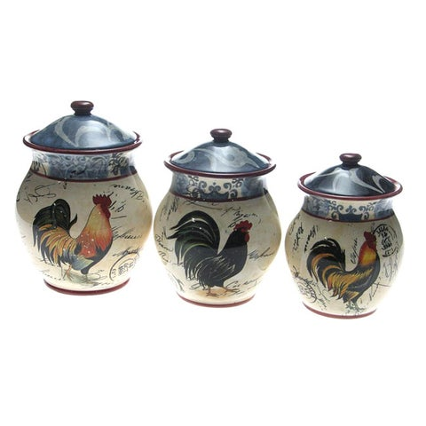 Certified International Lille Rooster 3-piece Ceramic Canister Set
