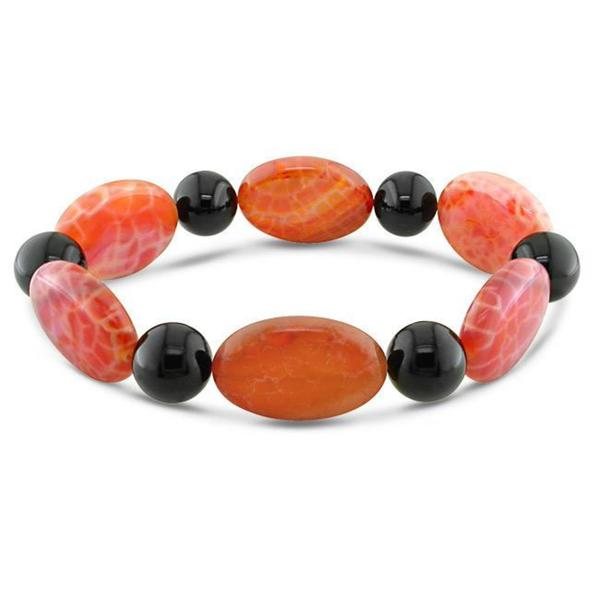Miadora Fire Agate and Round Onyx Bead Stretch Bracelet