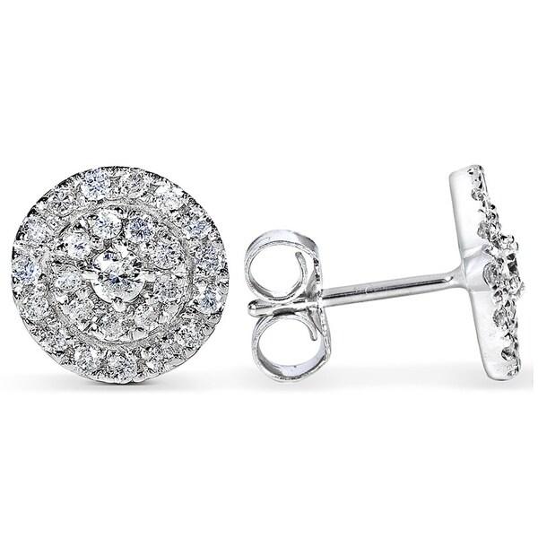 Annello by Kobelli 14k White Gold 1/2ct TDW Diamond Halo Earrings (H-I, I1-I2)