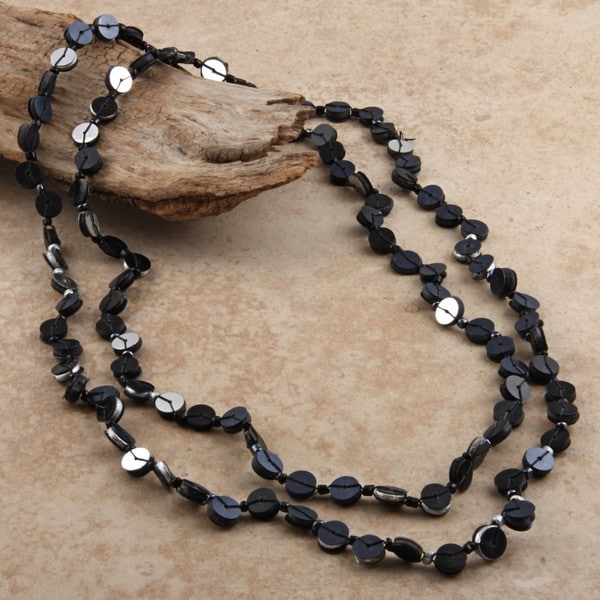 Black and Grey Flat Disc Bead Necklace (India)