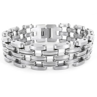 Crucible Stainless Steel Men's Wide Link Bracelet