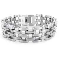 Crucible Stainless Steel Men's Wide Link Bracelet