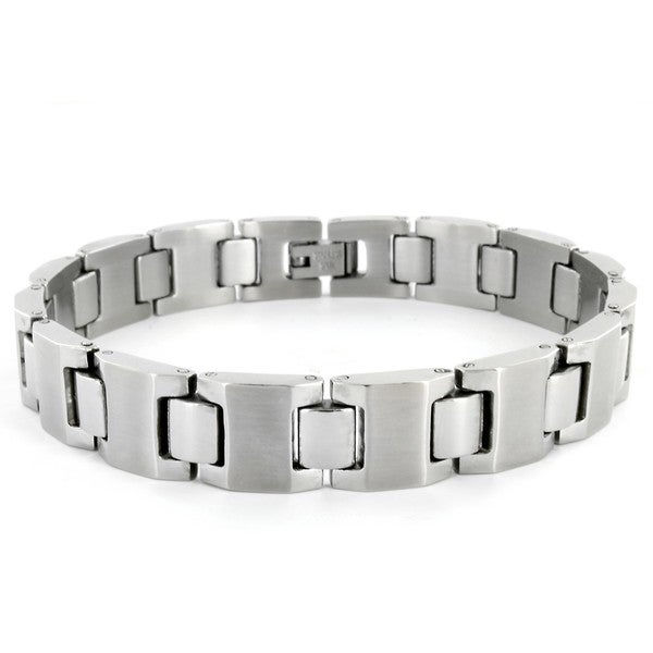 West Coast Jewelry Stainless Steel Men's Polished Wide Link Bracelet