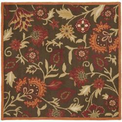 Safavieh Handmade Blossom Gardens Brown Wool Rug (6' Square)
