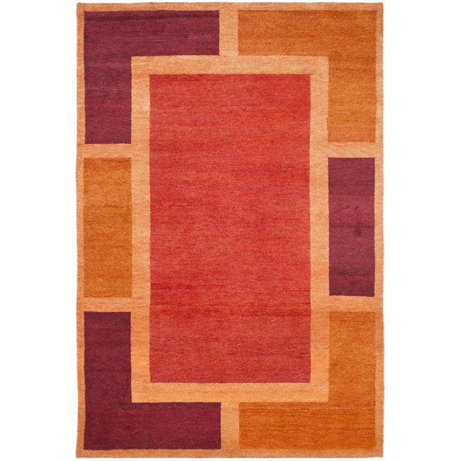 Safavieh Hand-knotted Gabeh Blocks Red Wool Rug (4' x 6')