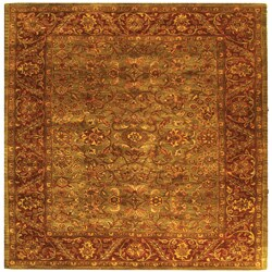 Safavieh Handmade Golden Jaipur Green/ Rust Wool Rug (8' Square)