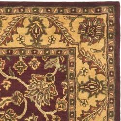 Safavieh Handmade Golden Jaipur Burgundy/ Gold Wool Rug (6' Square) - Thumbnail 1