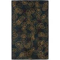 Safavieh Handmade Swirls Navy Wool Rug - 8' x 10'