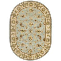 "Safavieh Handmade Heritage Timeless Traditional Light Blue/ Beige Wool Rug - 4'6"" x 6'6"" oval"